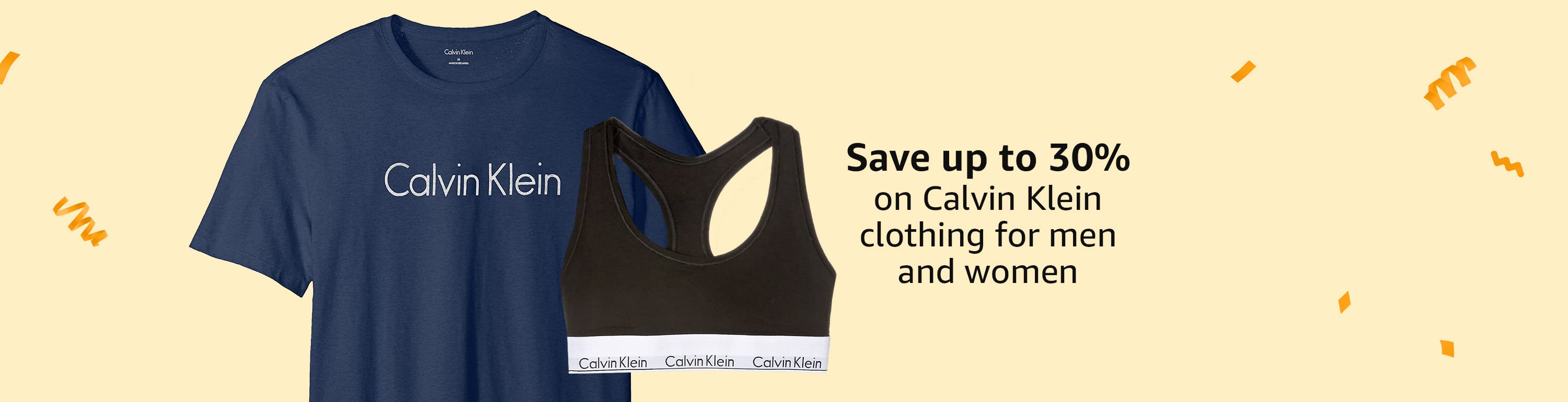 Save up to 30% on Calvin Klein clothing for men and women