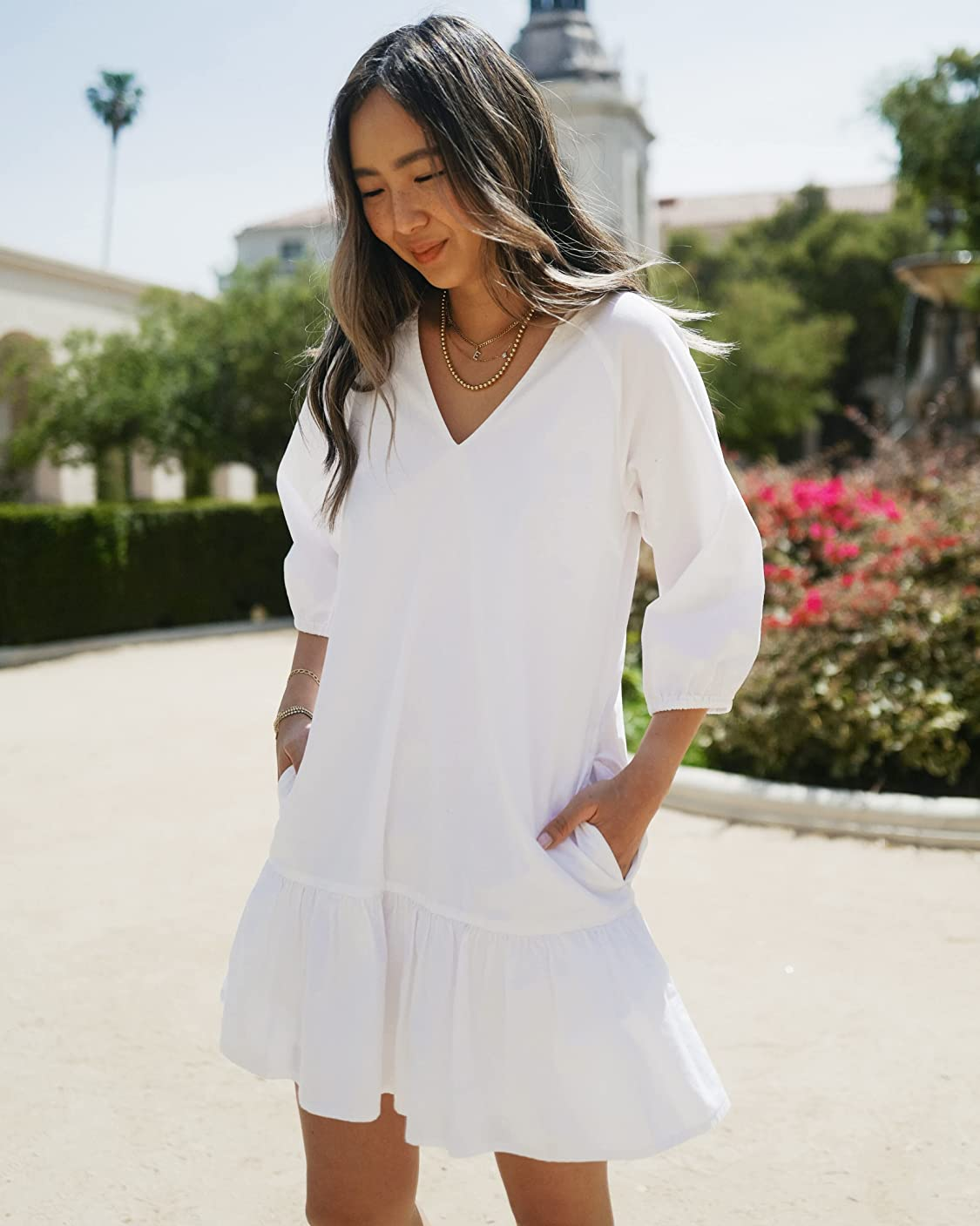 The Drop wears The Drop Women's Bright White Balloon-Sleeve Tiered Mini Dress by @spreadfashion
