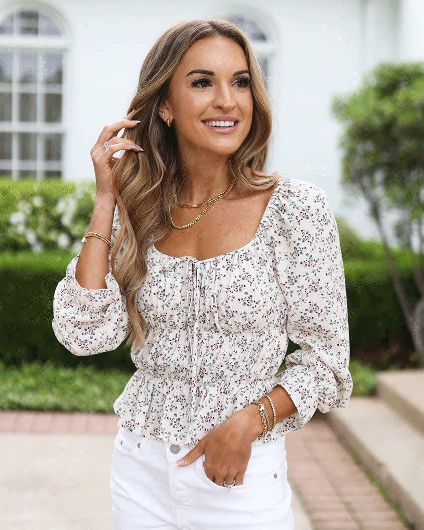 The Drop wears The Drop Women's Ivory Floral Print Gathered Long Sleeve Top by @laurenkaysims