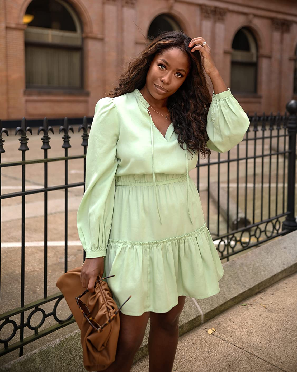 The Drop wears The Drop Women's Smoke Green Long Sleeve V-Neck Mini Dress by @highlowluxxe