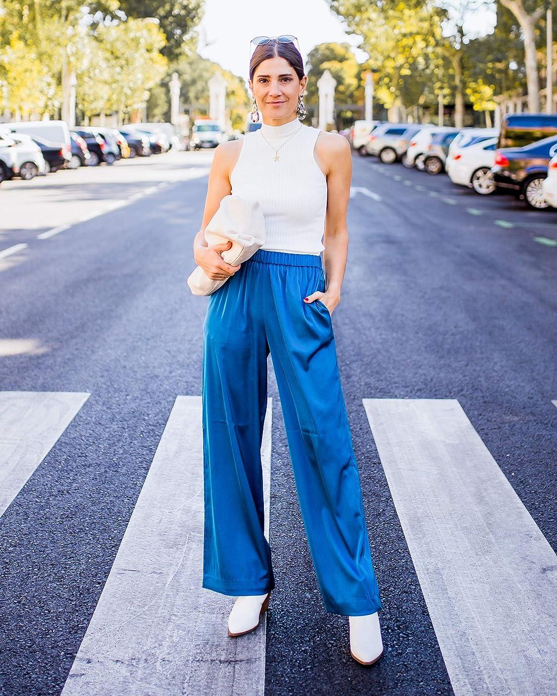 Belén Canalejo lleva The Drop por @balamoda - Pantalón de pernera ancha sin cierre para mujer, color azul zafiro