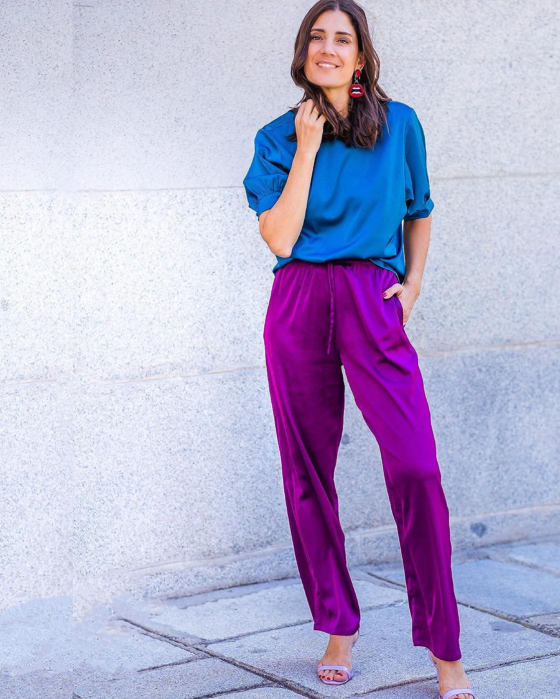 Belén Canalejo lleva The Drop por @balamoda - Camiseta de manga farol para mujer, color azul zafiro