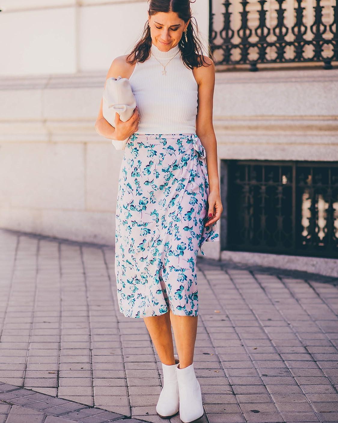 Belén Canalejo lleva The Drop por @balamoda - Falda cruzada con estampado floral para mujer