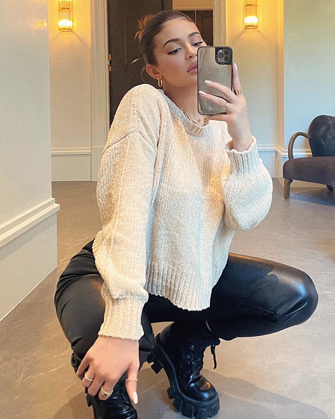 Kendall and Kylie Jenner wears KENDALL + KYLIE Women's Balloon Sleeve Crew Neck Sweater - Amazon Exclusive