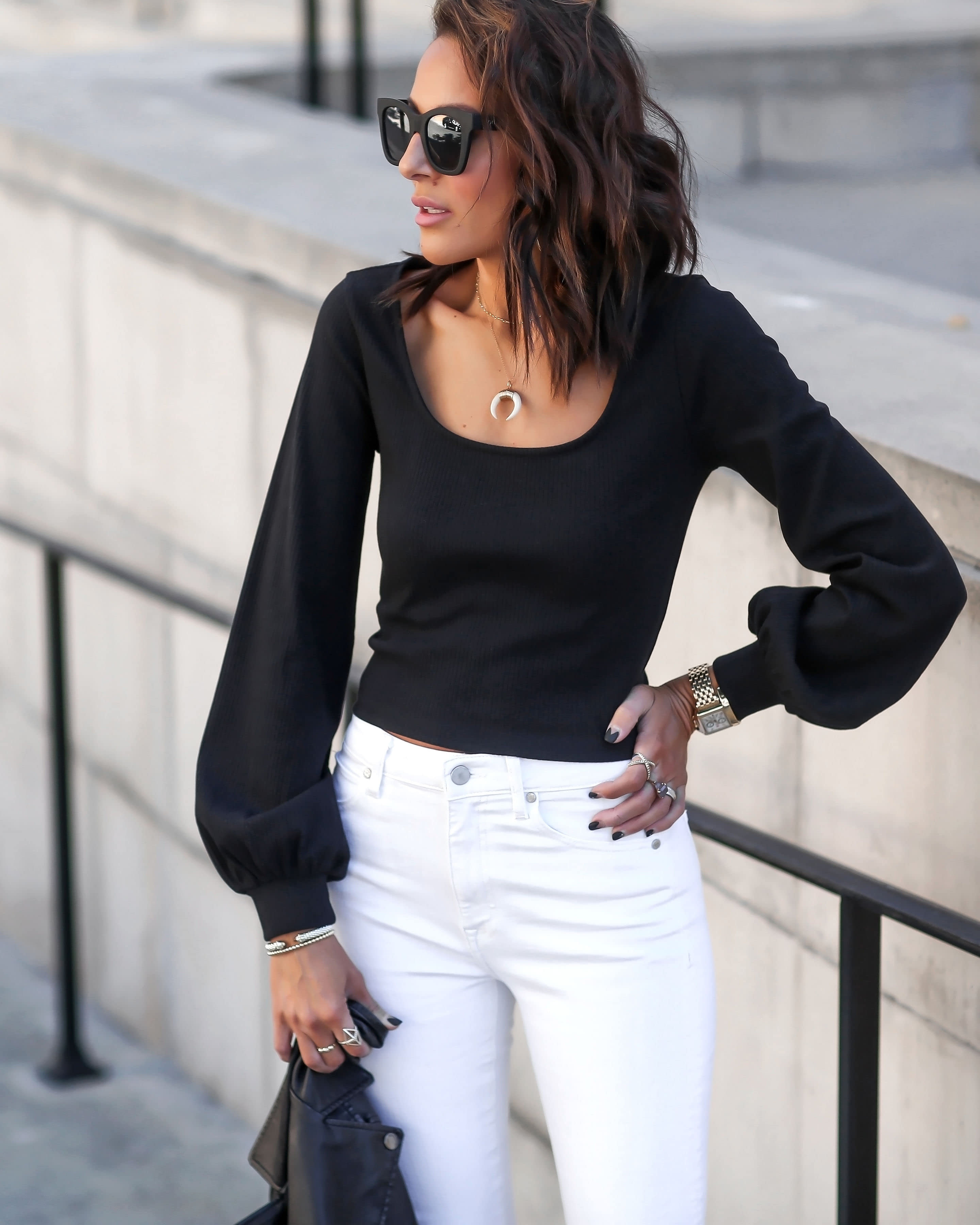 Lucy Hernandez wears The Drop Women's @lucyswhims Square-Neck Balloon-Sleeve Cropped Top