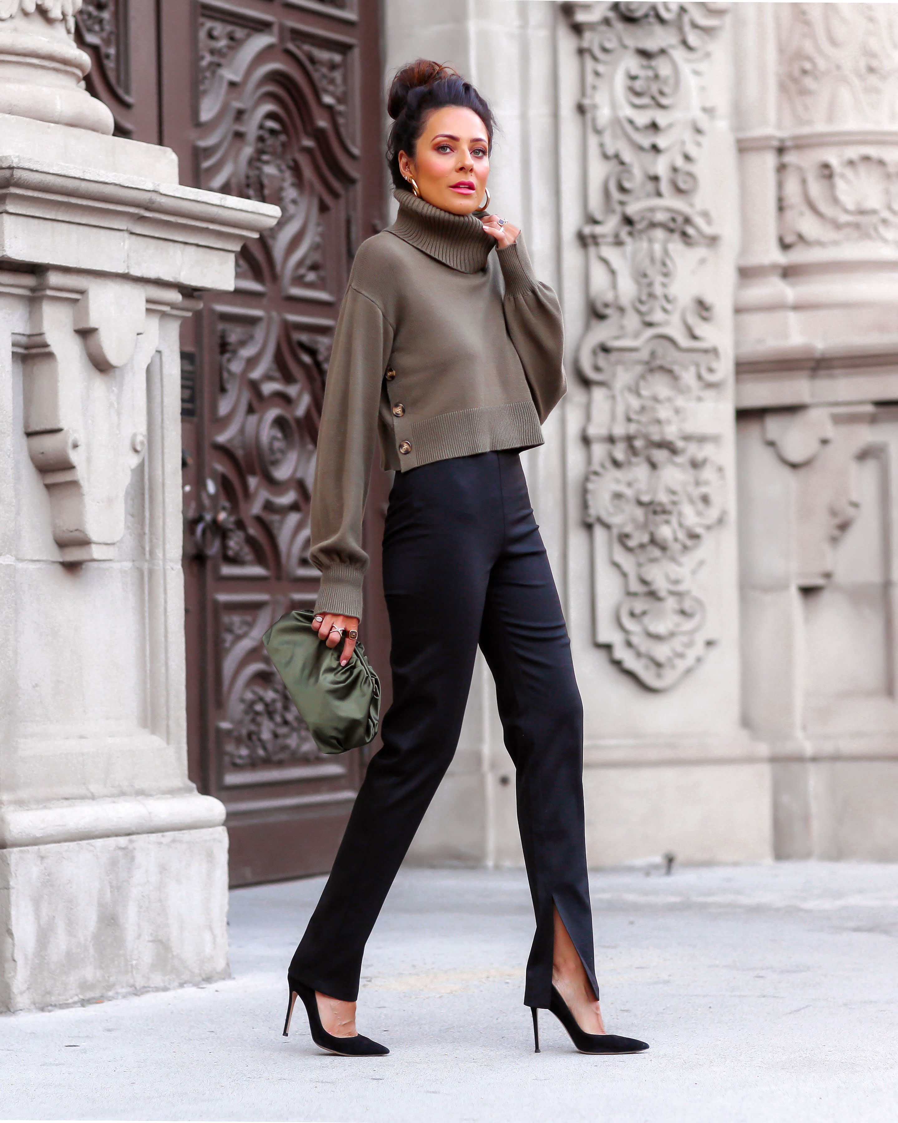 Lucy Hernandez wears The Drop Women's @lucyswhims Side Button Cropped Turtleneck Sweater