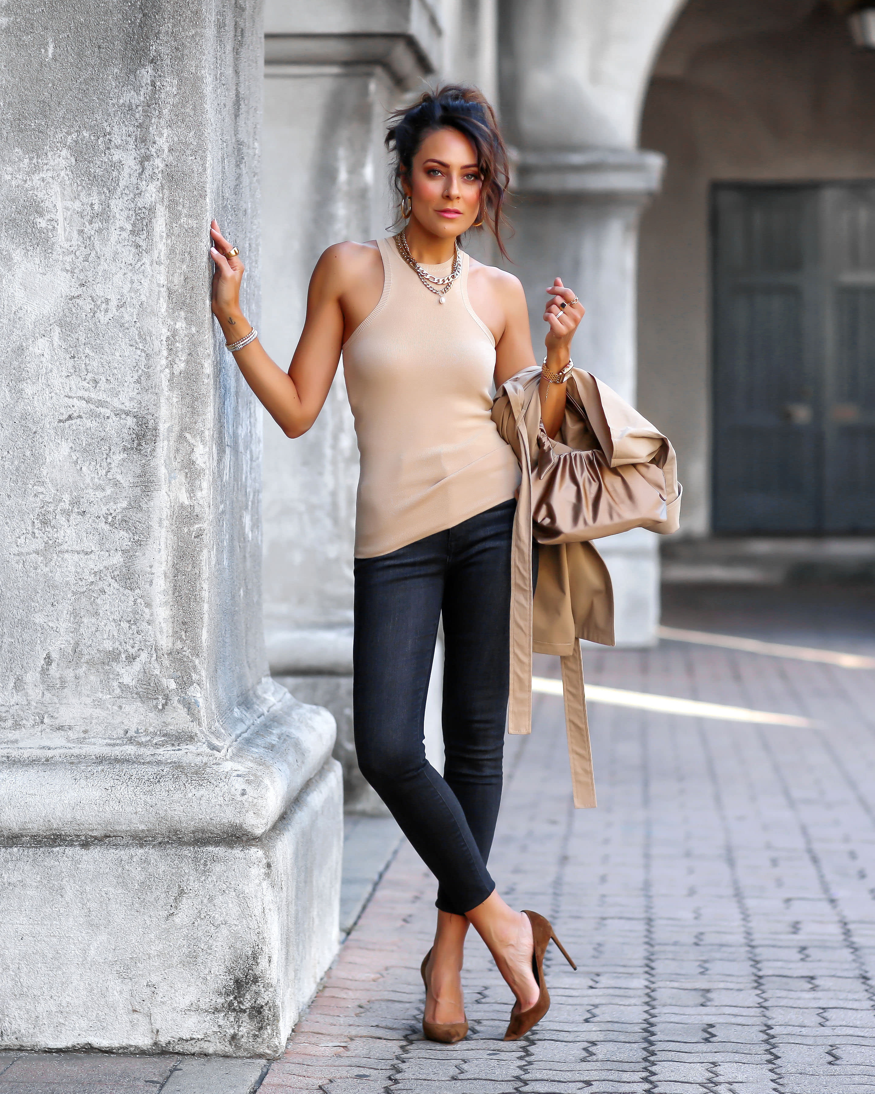 Lucy Hernandez wears The Drop Women's @lucyswhims Fitted Cutaway Racer Tank Sweater