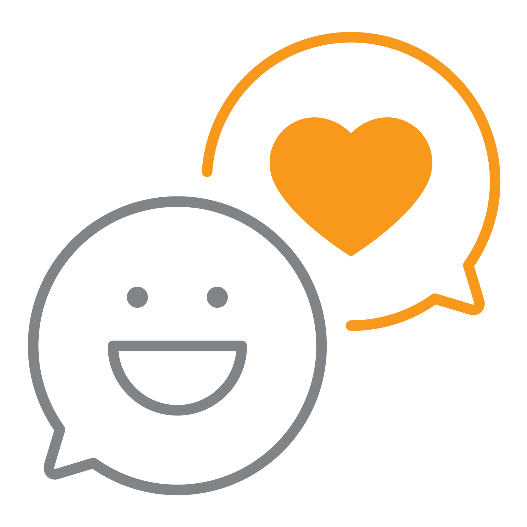 Smiley face and heart social media interactions