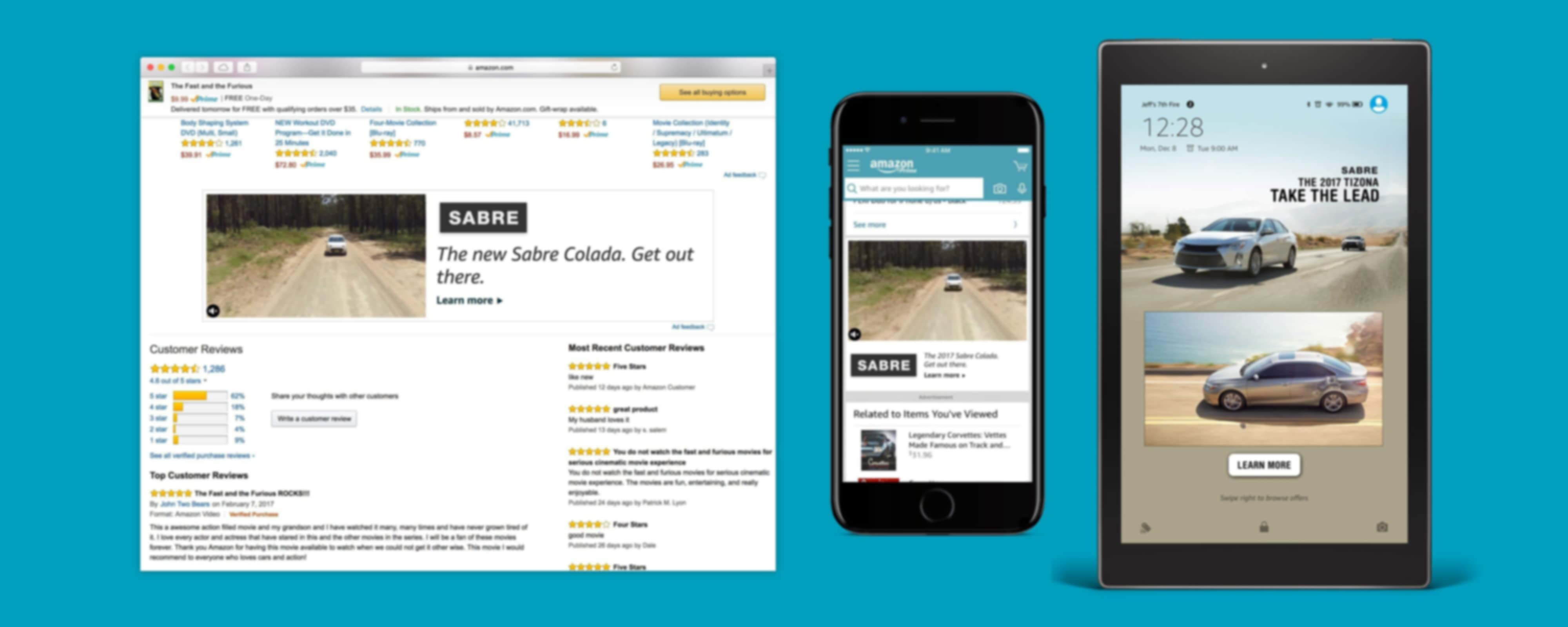 Samples of video ads on on Amazon's websites, mobile app, and Fire tablet wake screen.