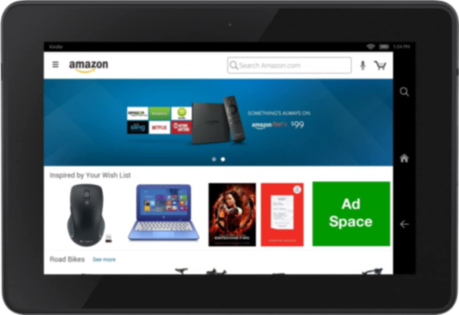 Ad placement on Fire tablet shopping app home page