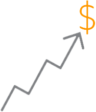 Chart trending upwards with dollar sign