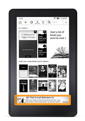 Banner ad on the Kindle E-reader homepage
