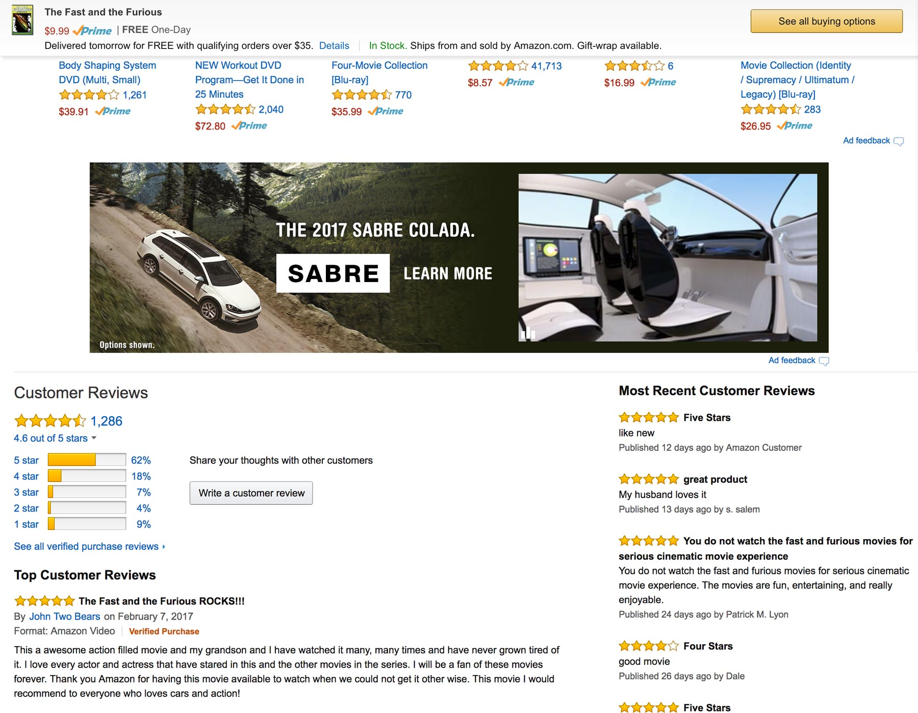 Amazon Video Ad on a product detail page