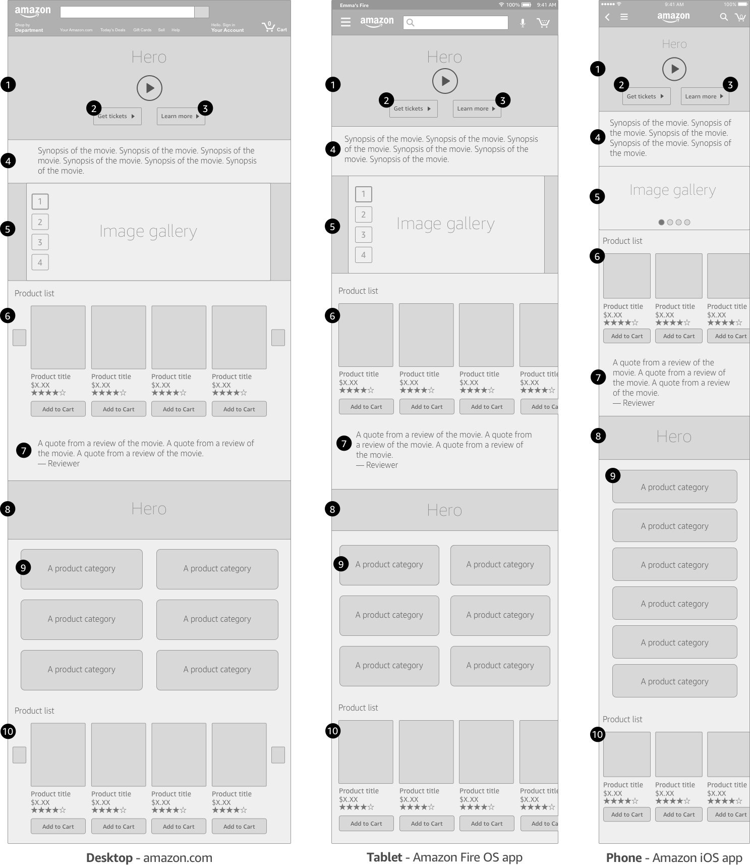 Opening night wireframes