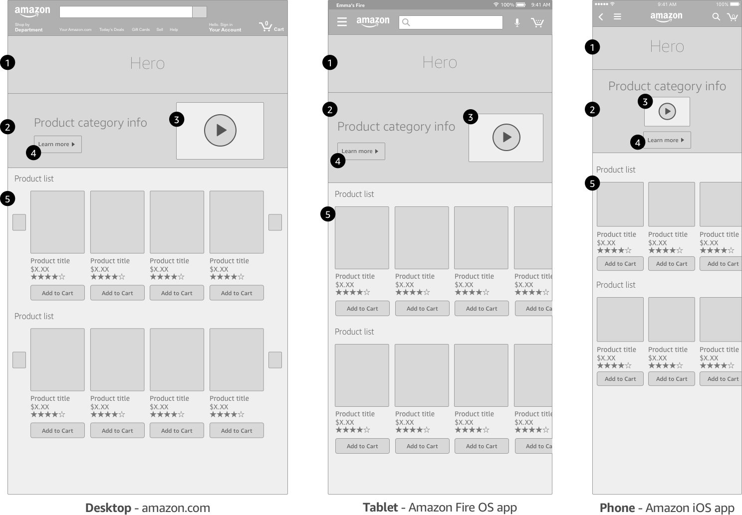 Showcase wireframes