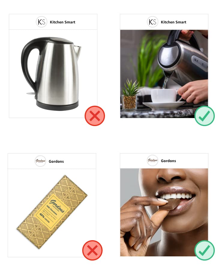 Don't examples: a product image used as a brand image; a collage of images used as a brand image