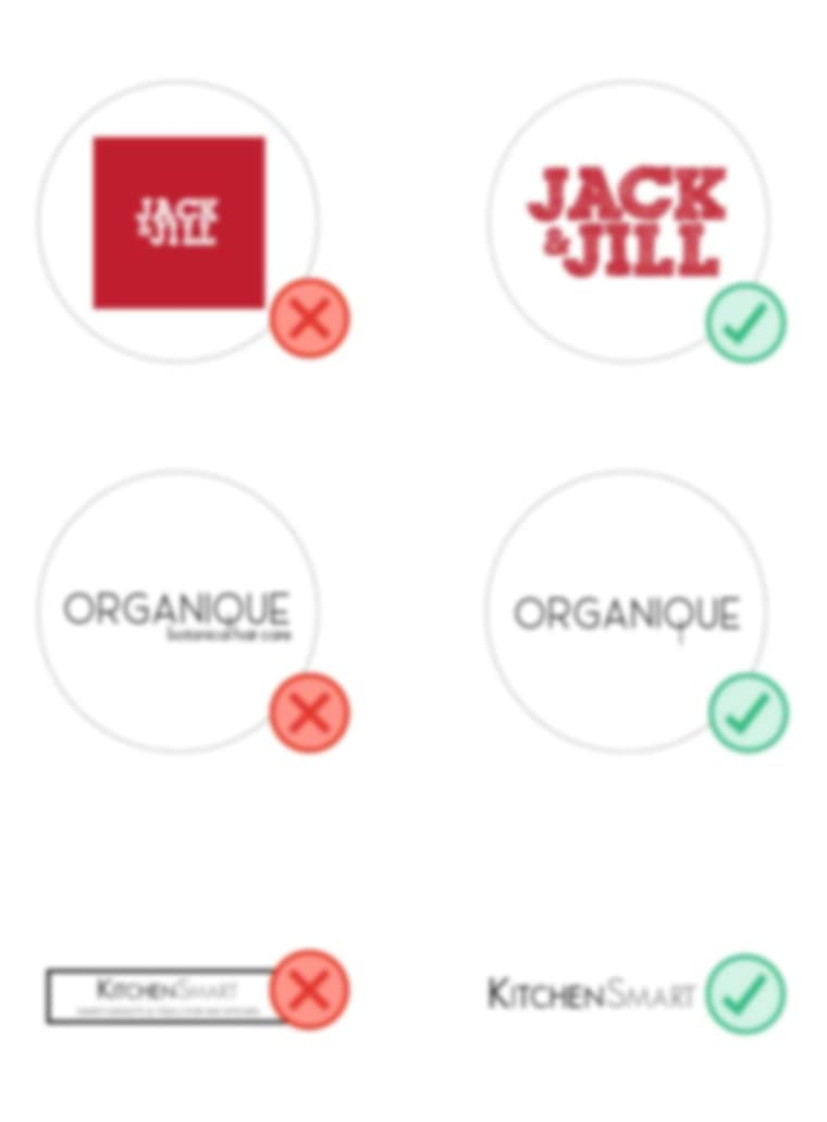 Don't examples: logos with small text or shapes