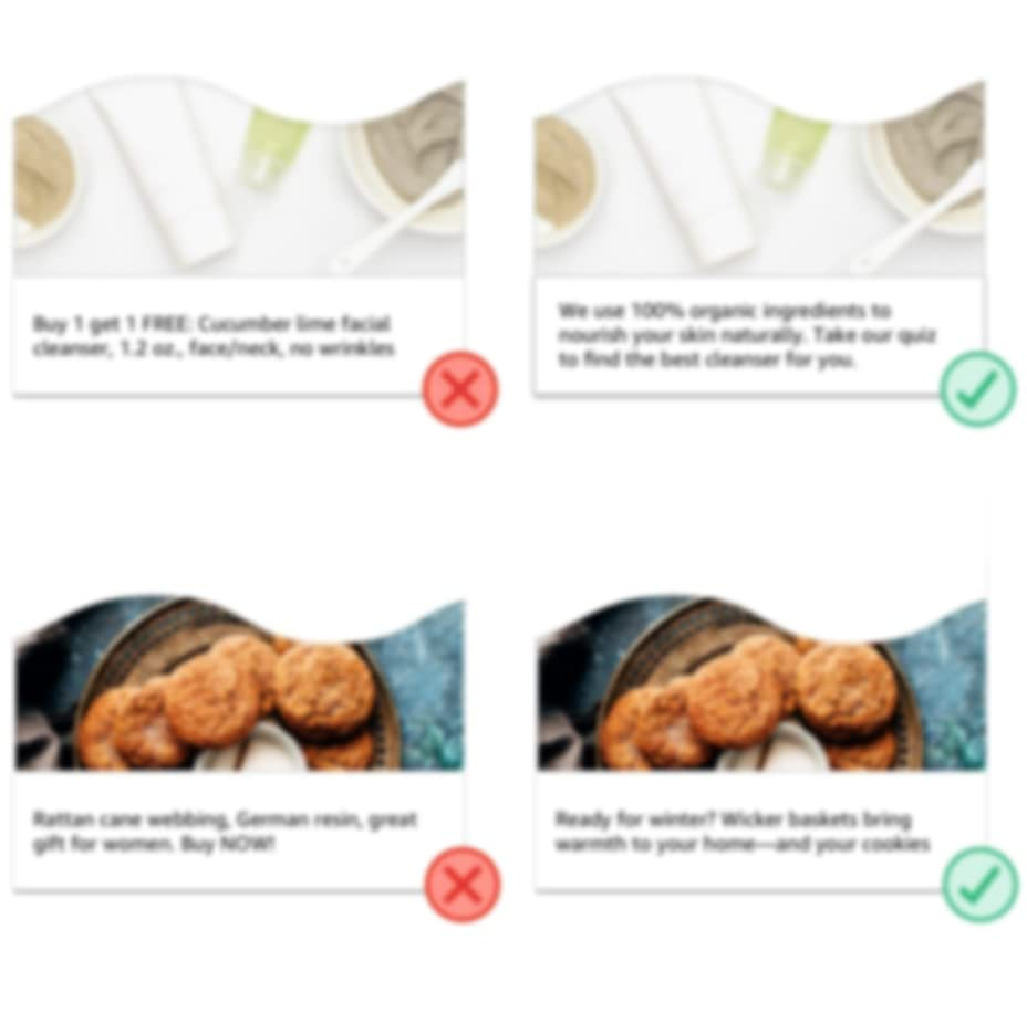 Don't examples: product description and keyword stuffing used as brand messaging