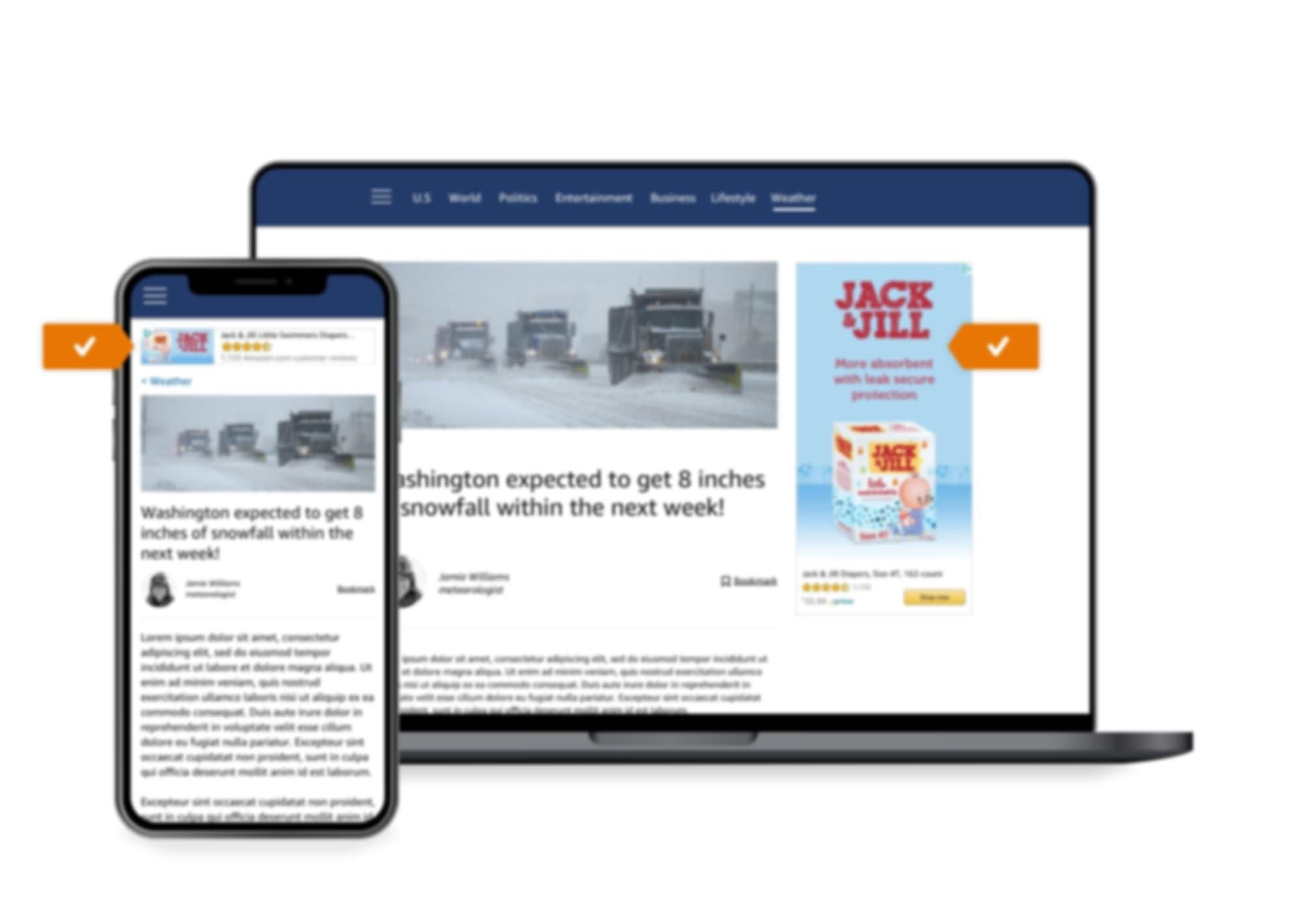Ubicación del anuncio de Sponsored Display en un sitio externo