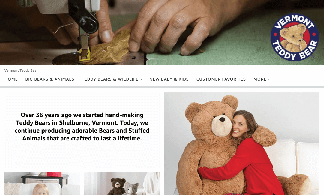 Store da Vermont Teddy Bear na Amazon.