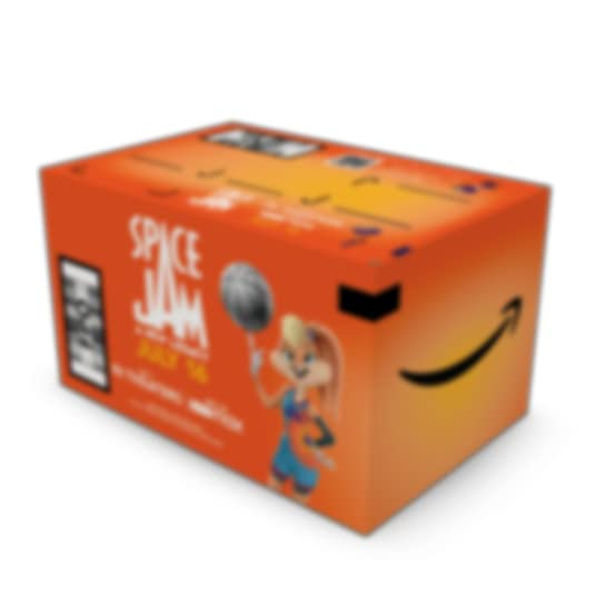 custom amazon prime shipping box displaying a space jam movie ad