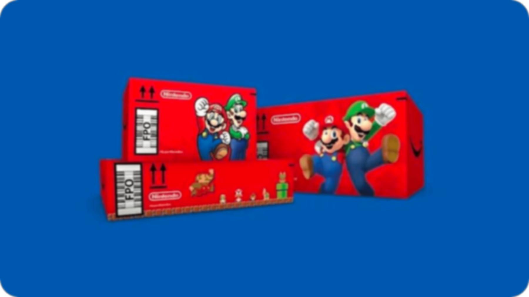 Nintendo mario game ad on an amazon shipping box