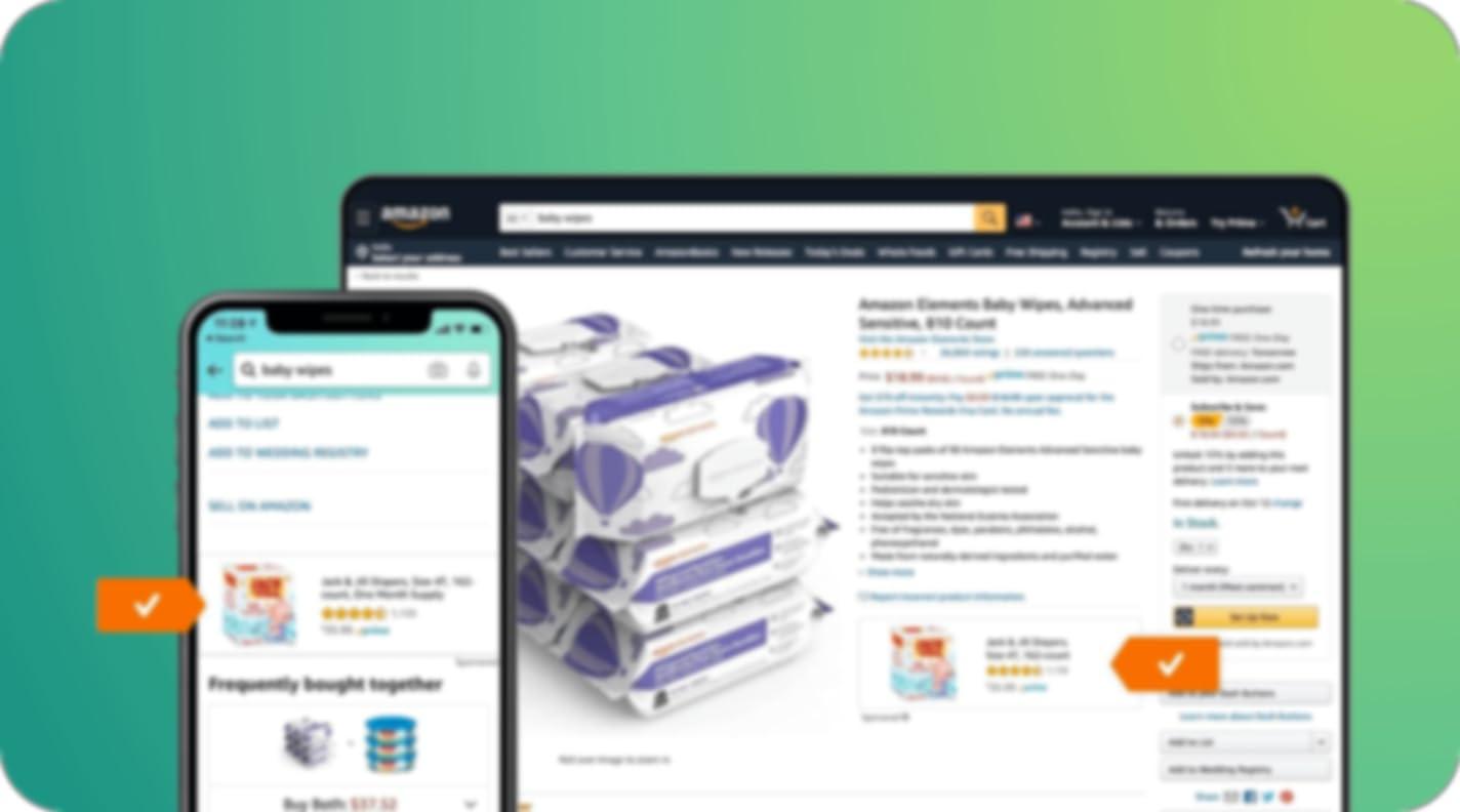 واجهة مستخدم شاشة البيع بالتجزئة من أمازون تعرض مواضع ظهور الإعلانات