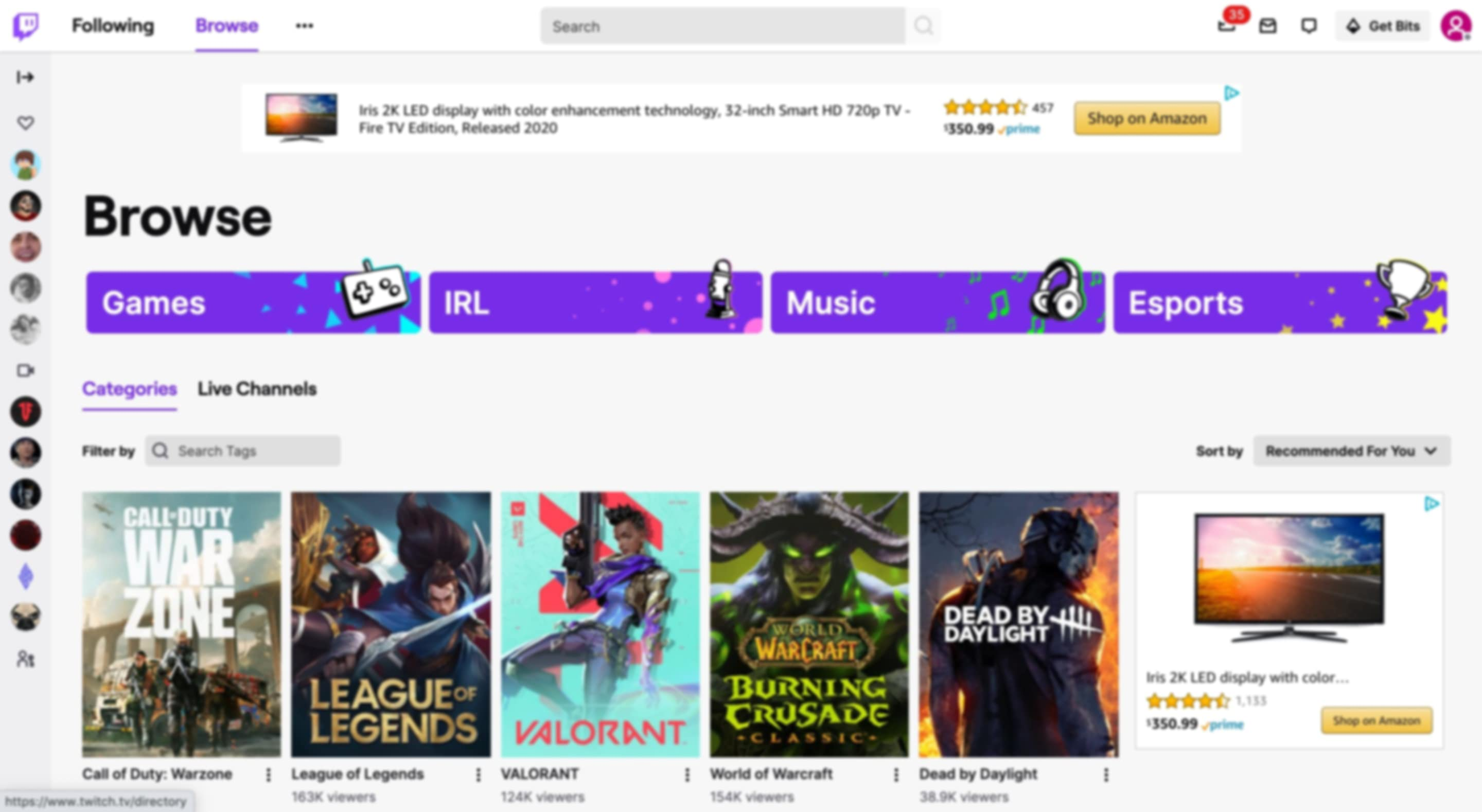 Browsing games, music, and other categories on Twitch.