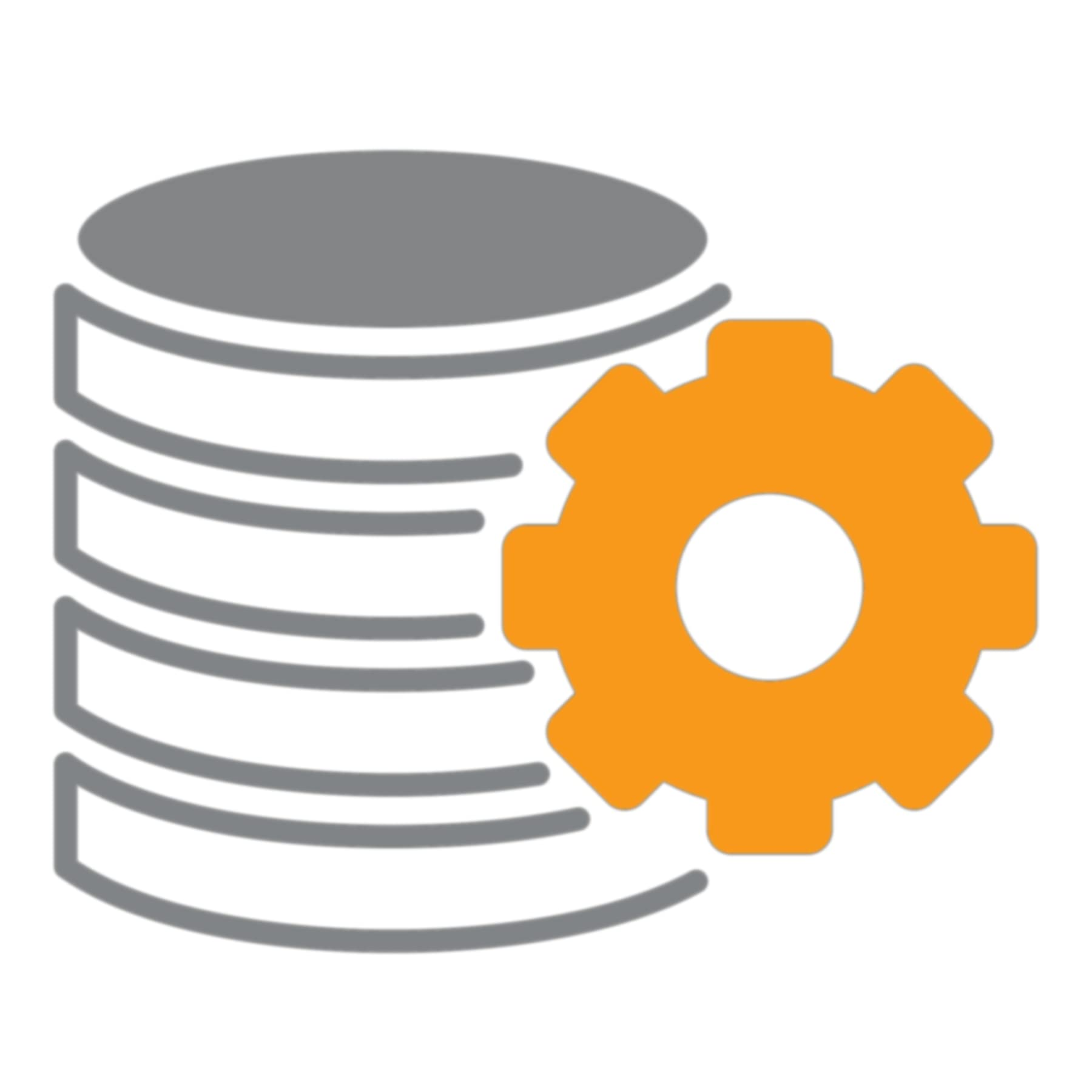 Cogwheel in front of a hardware database