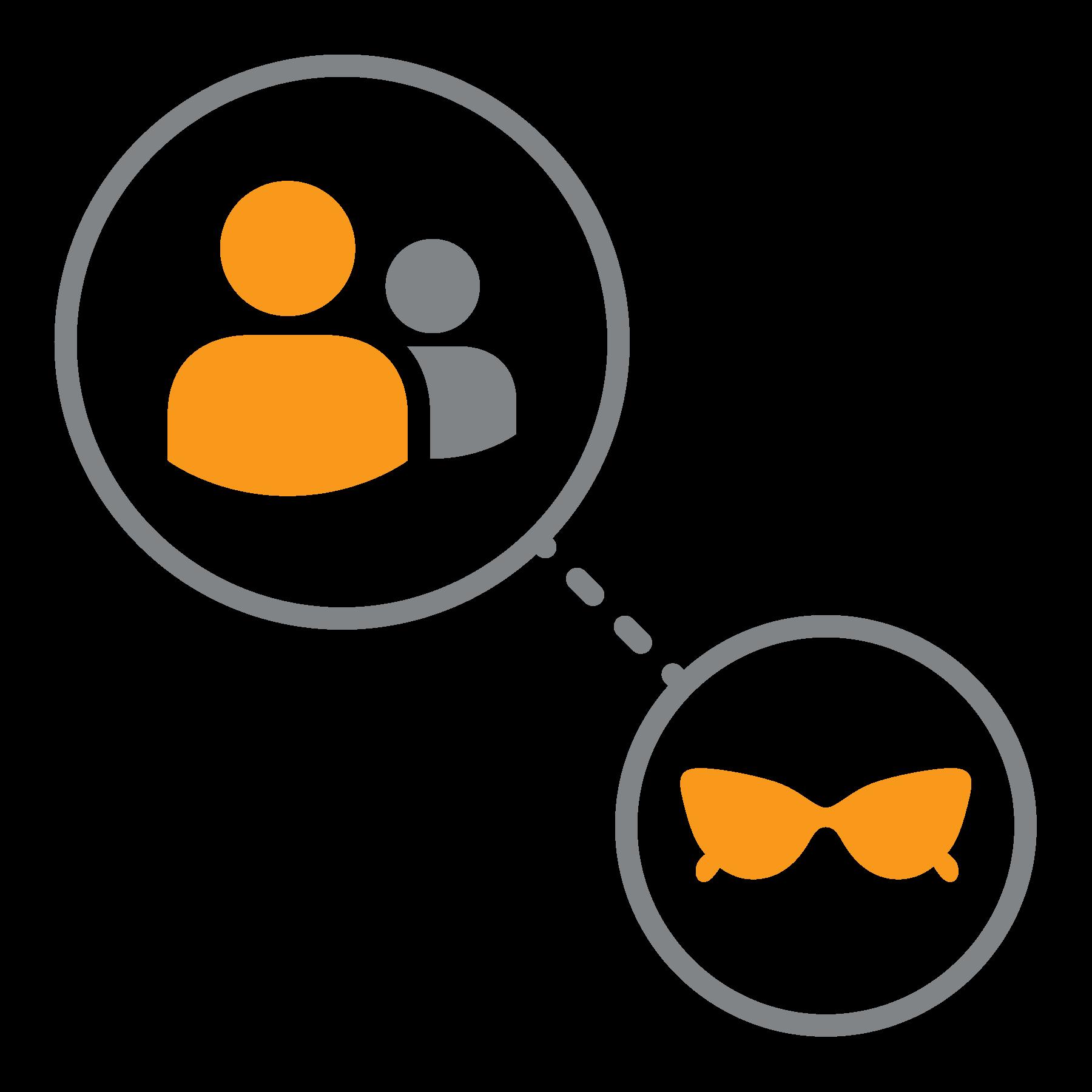 Linea tratteggiata che collega utenti e occhiali da sole