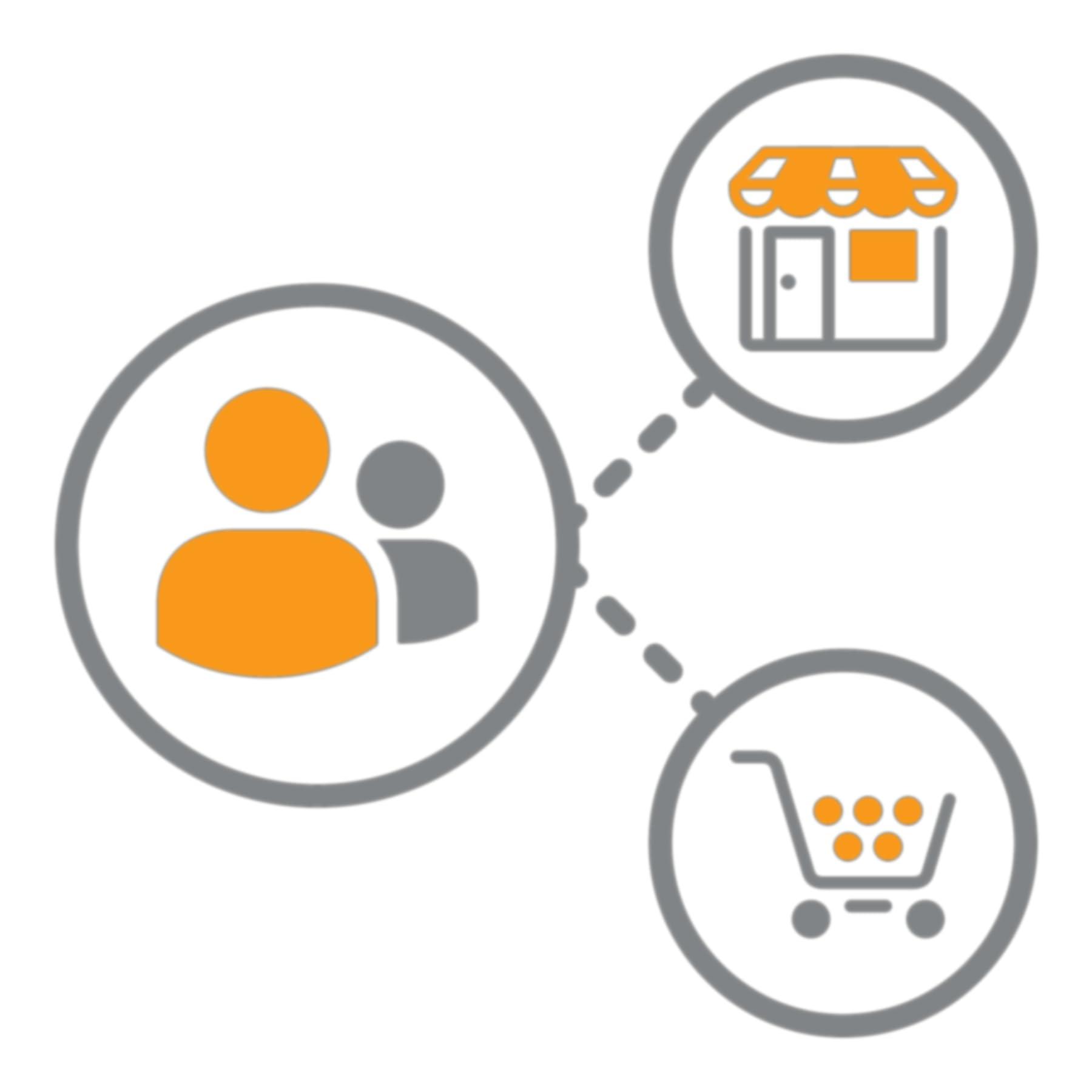 Línea punteada que conecta a los usuarios con un escaparate de tienda y cesta de compras