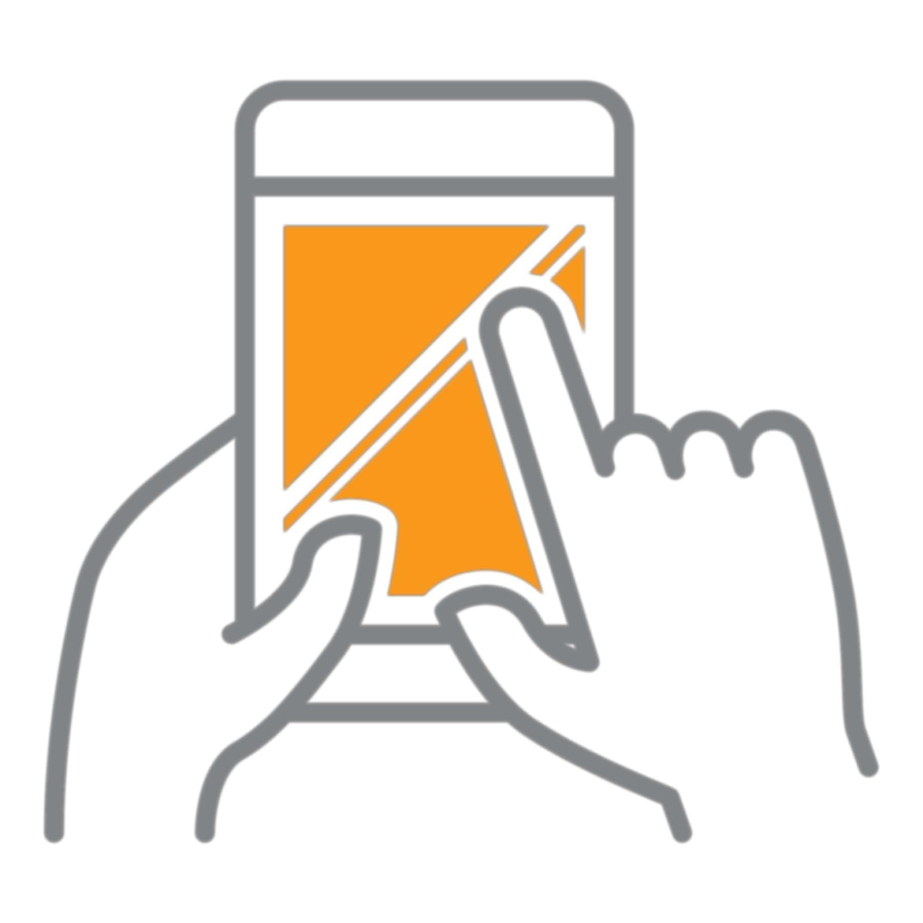 Mão tocando em um dispositivo móvel