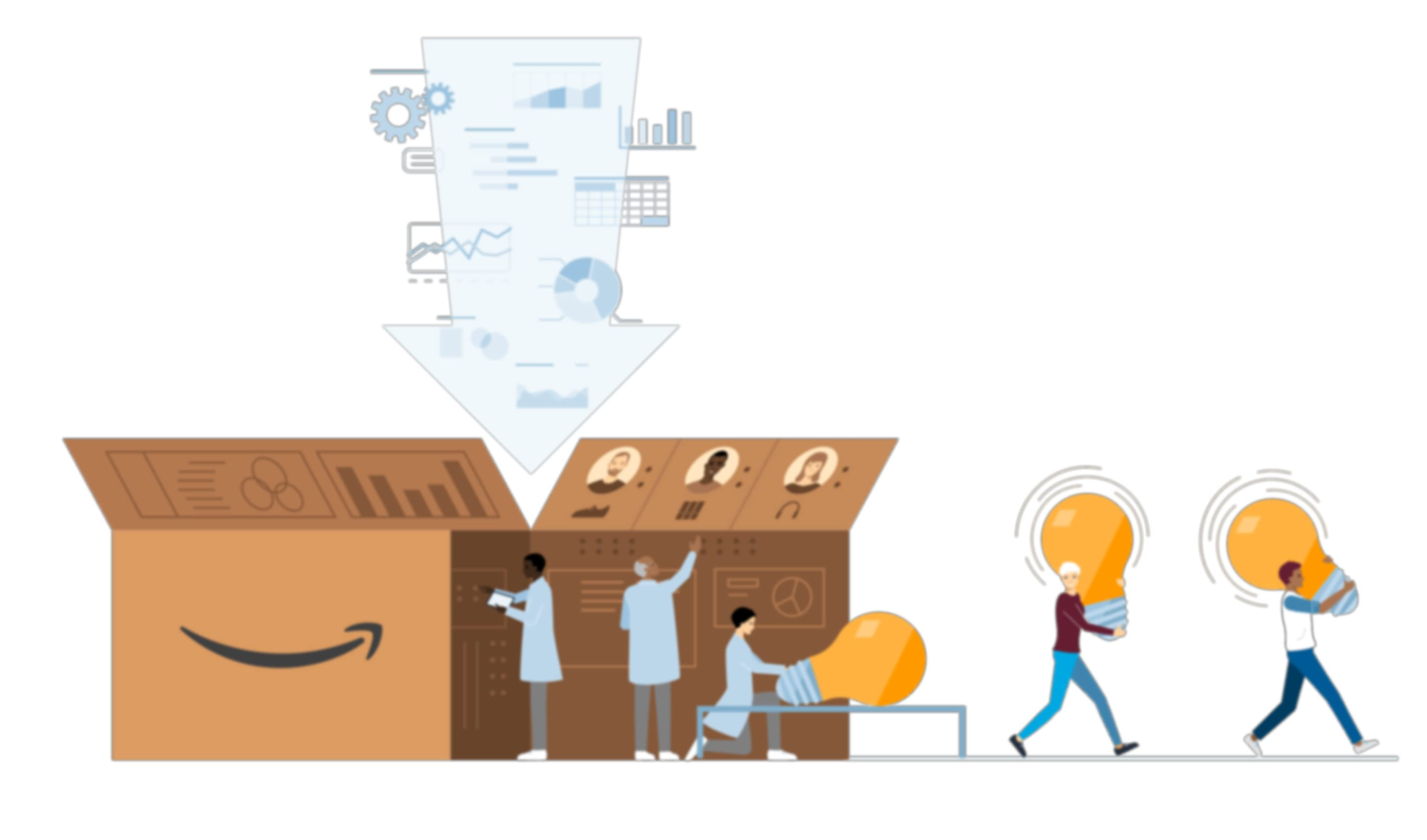 Illustration of workers carrying lightbulbs out of box