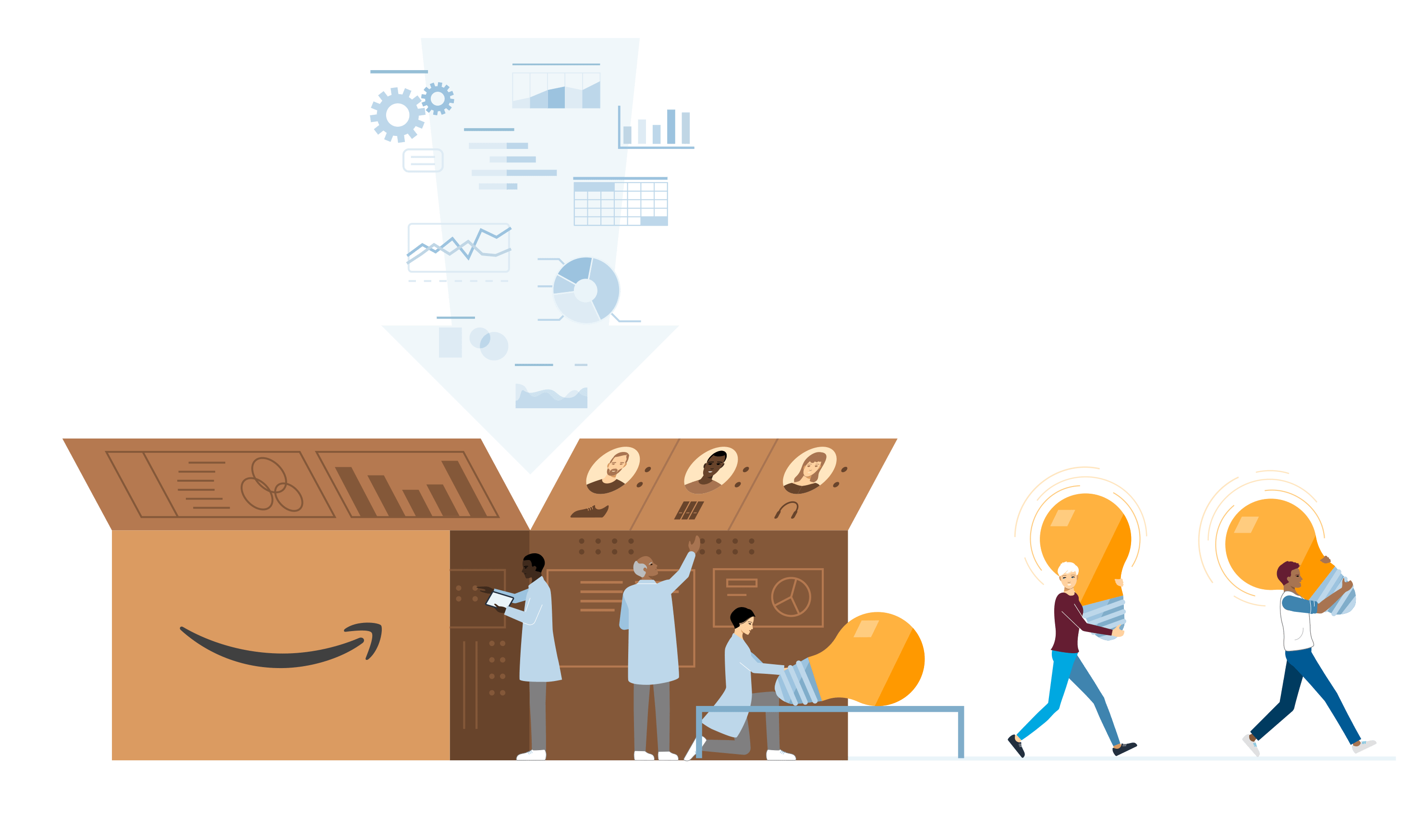 Illustration of workers carrying light bulbs out of box