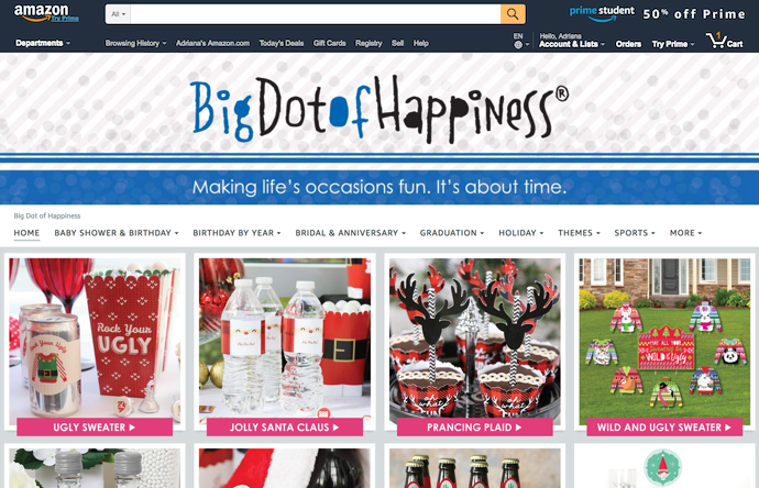 Store-pagina van Big Dot of Happiness op amazon.com