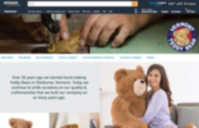 صفحة متجر Vermont Teddy Bear على amazon.com