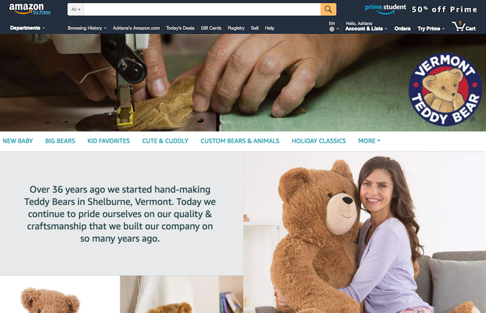 Store page of Vermont Teddy Bear on amazon.com