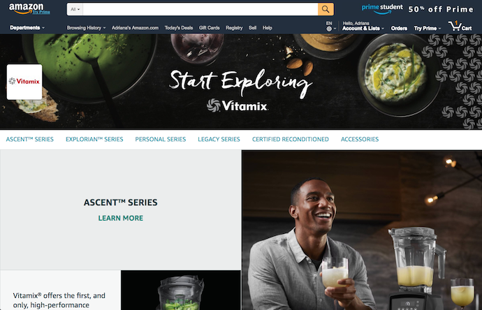Store page of Vitamix on amazon.com