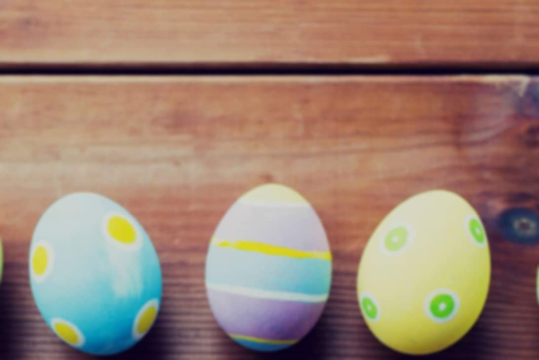 Eggs painted in various colors