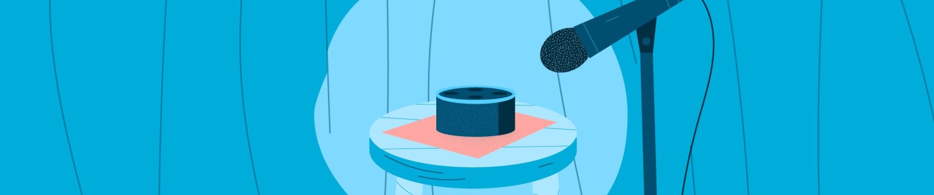 An Echo Dot sitting on a stag, on a stool. There's a microphone to tell a joke into.