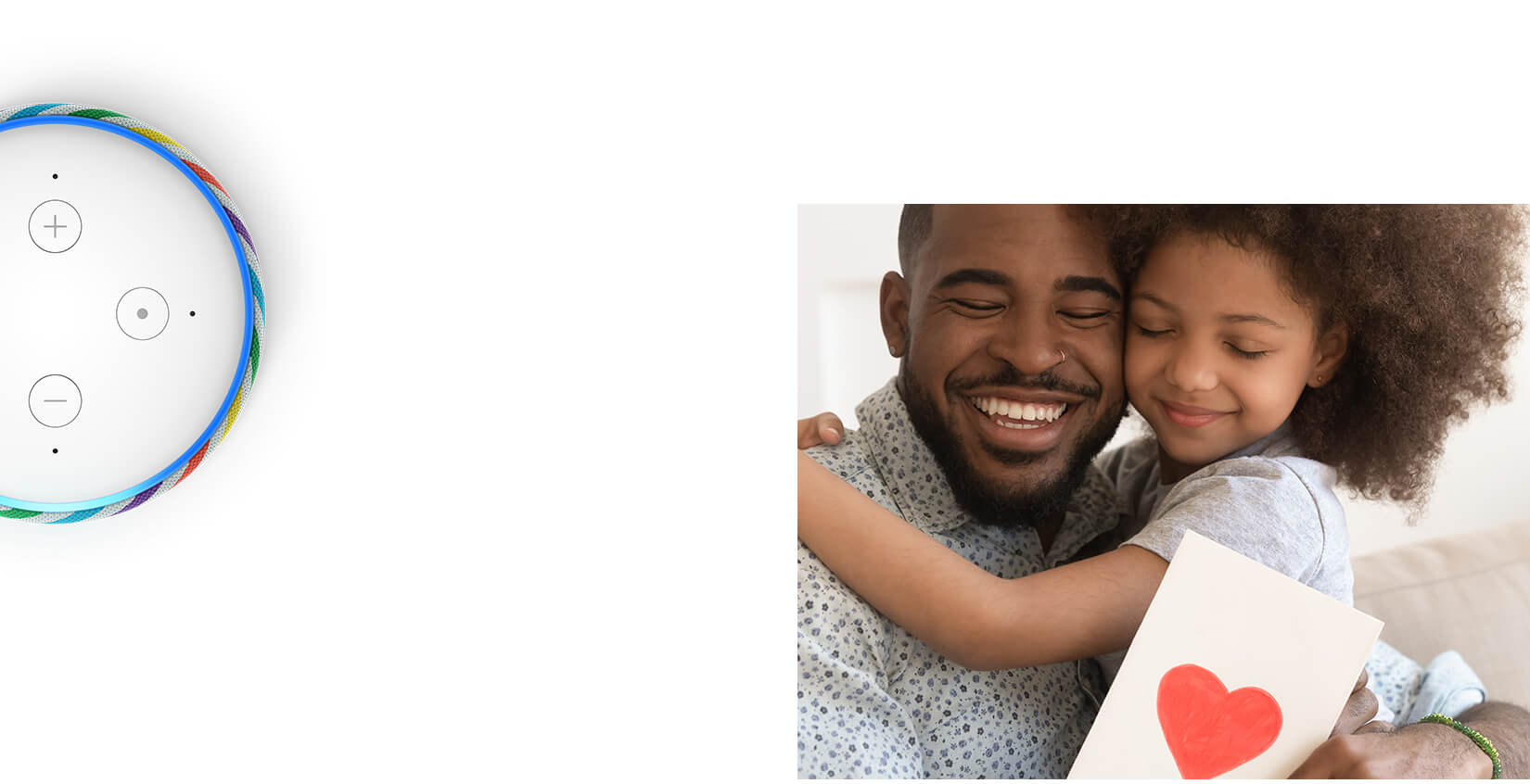 Father and daughter celebrating fathes day. Alexa Father's Day gift ideas