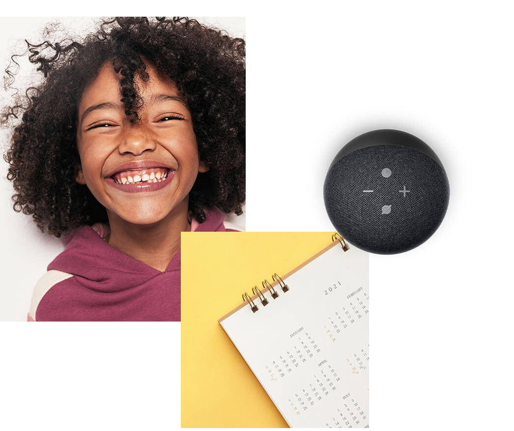 Girl laughing Alexa jokes and Alexa calendar help