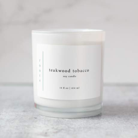 Roote teakwood tobacco soy candle