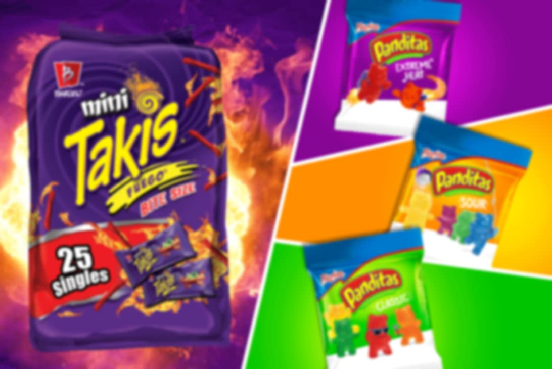 A collection of four Taki chip bags