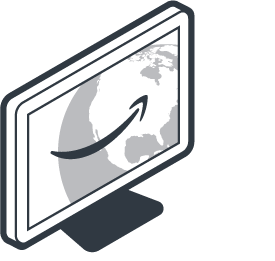 desktop computer screen with amazon smile logo