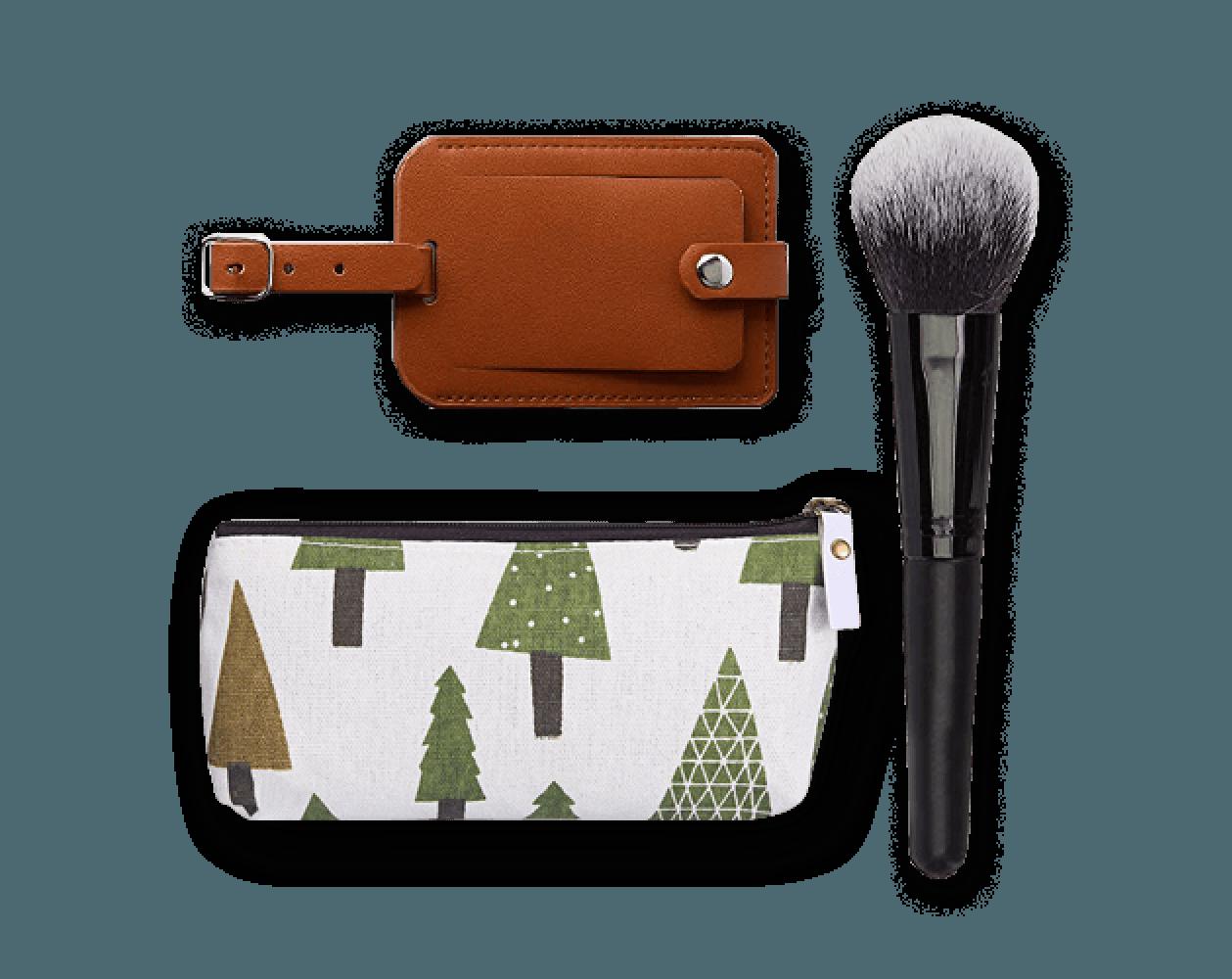 luggage tag, makeup brush, small bag