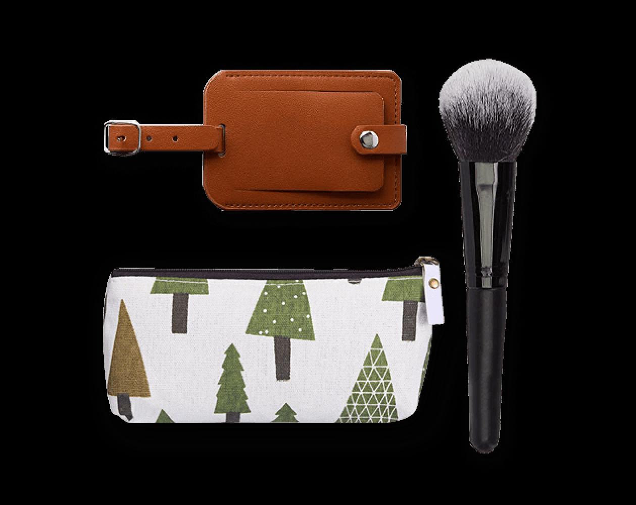 etichetta bagagli, piccola borsa, pennello trucco