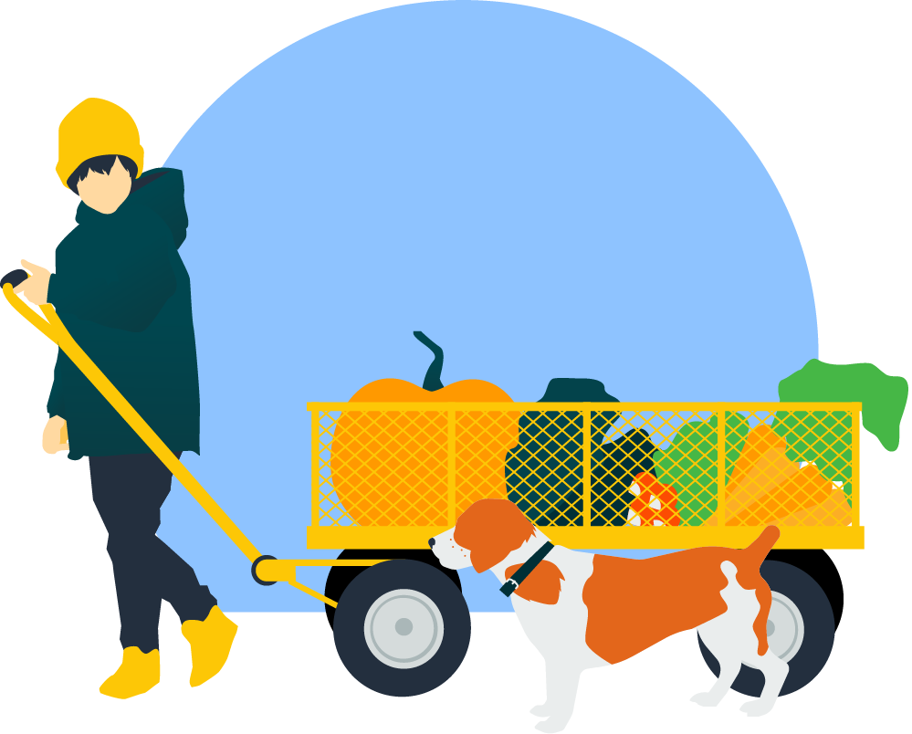 child with wagon and dog