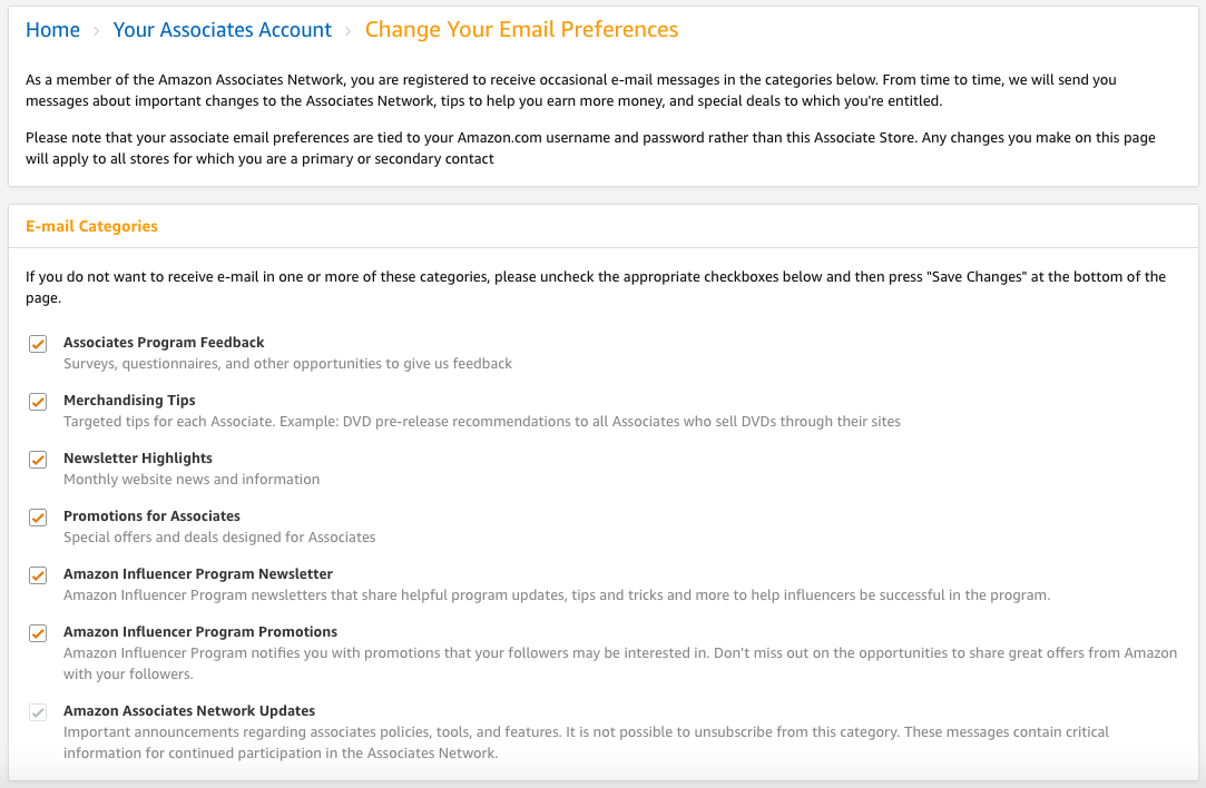 Associate Email Preferences