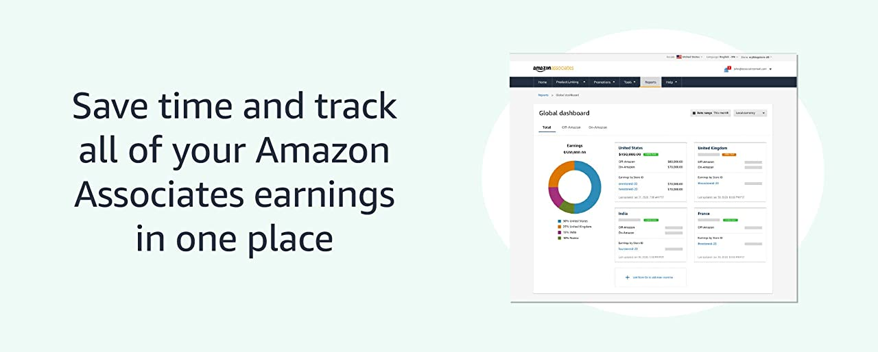 Save time and track all of your Amazon Associate earnings in one place
